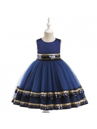 Navy Blue Shinning Sequins Party Dress For Girls 6-12 Years