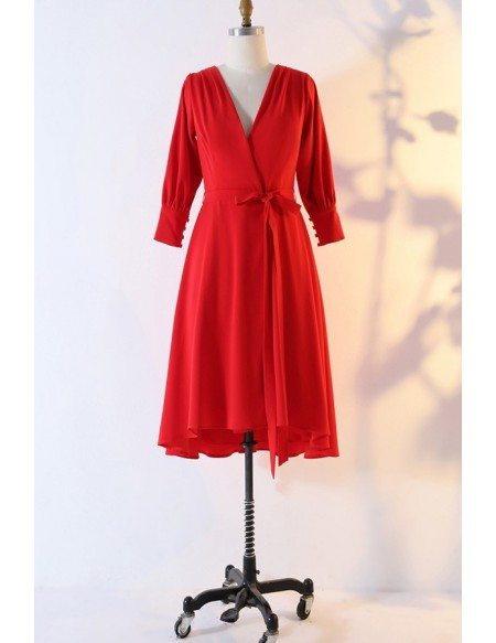 Custom Red Vneck Chiffon Wedding Party Dress With Sleeves High Quality
