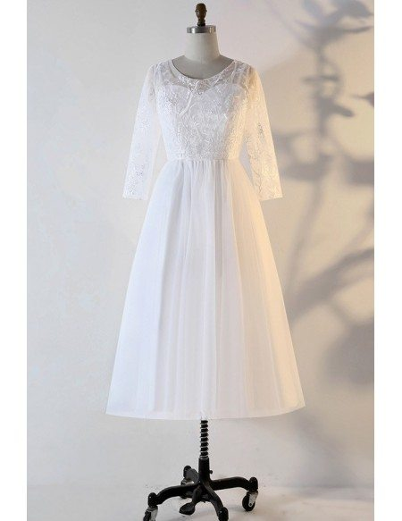 Custom Vintage Chic Tea Length Wedding Dress With Lace Sleeves High Quality