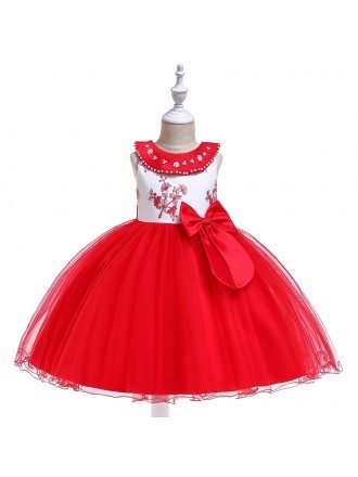Red Tulle Ballgown Formal Party Dress For Girls Holidays