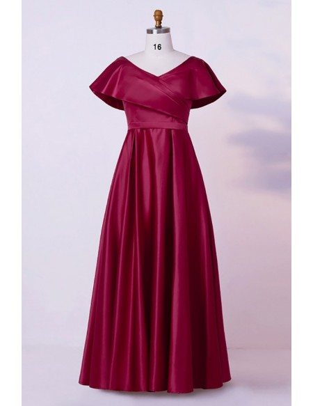Custom Elegant Vneck Pleated Mother Of Bride Dress With Cap Sleeves High Quality