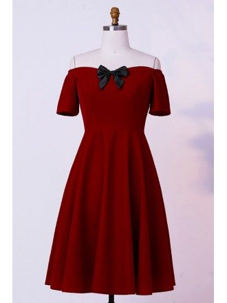 Custom Burgundy Cute Bow Semi Party Dress With Off Shoulder High Quality