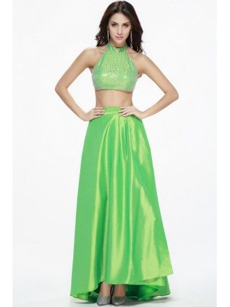 Bling Bling Two-Pieces Satin Seuqined Long Prom Dress