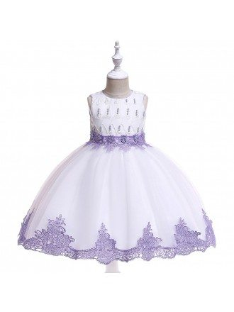 White With Purple Lace Trim Beaded Party Dress For Girls 4-5-6t