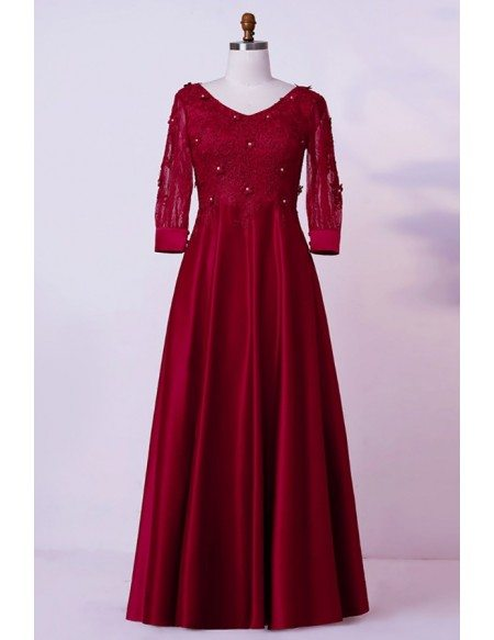 Custom Burgundy Lace Vneck Modest Mother Of Bride Dress With Sleeves High Quality