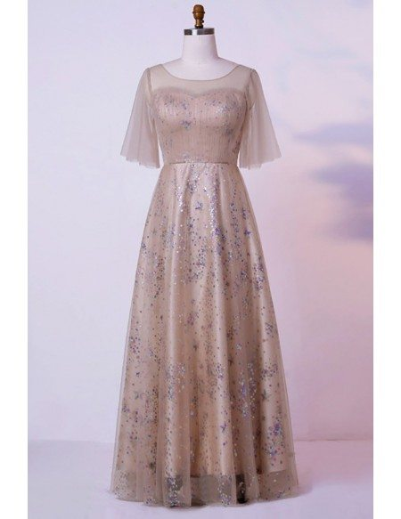 Custom Champagne Long Formal Party Dress With Sequins Puffy Sleeves High Quality