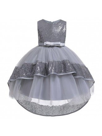 Sparkly Sequins Navy Blue High Low Girl Party Dress