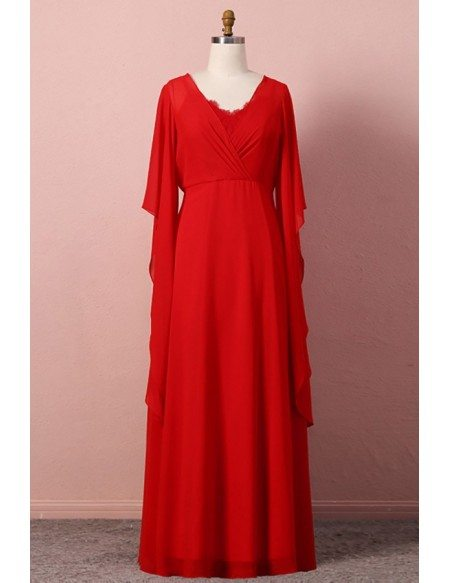 Custom Classy Flowy Chiffon Red Wedding Party Dress With Cape Sleeves High Quality