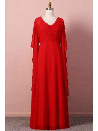 Custom Classy Flowy Chiffon Red Wedding Party Dress With Cape Sleeves High Quality