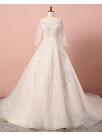 Custom Ivory Beaded Lace Formal Wedding Dress Sequined With Sleeves High Quality