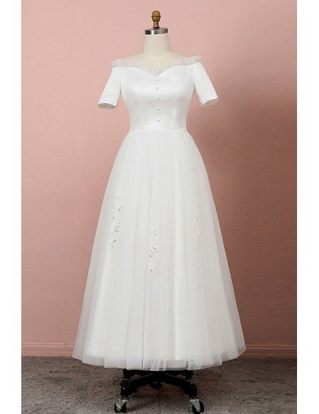 Custom Ivory Retro Ankle Length Wedding Dress With Appliques High Quality