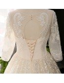 Custom Luxury Sequins Beaded Formal Wedding Dress With Long Sleeves High Quality