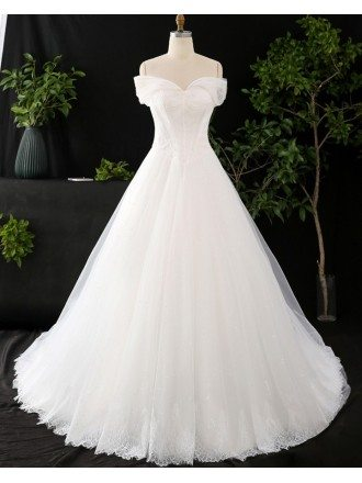 Custom Ivory Lace Strapless Ballgown Simple Wedding Dress High Quality