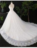 Custom Ivory Lace Strapless Ballgown Simple Wedding Dress High Quality