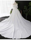 Custom Ivory Off Shoulder Simple Wedding Dress With Sleeves High Quality