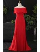 Custom Red Classy Off Shoulder Long Chiffon Evening Dress High Quality