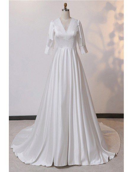 Custom Ivory Vneck Satin Wedding Dress Sleeved With Train High Quality
