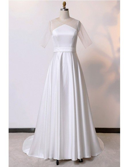 Custom Ivory Simple Modest Wedding Dress Satin With Illusion Sleeves High Quality