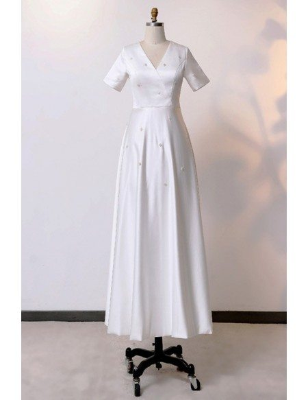 Custom Ivory Vneck Satin Ankle Length Wedding Dress With Short Sleeves High Quality