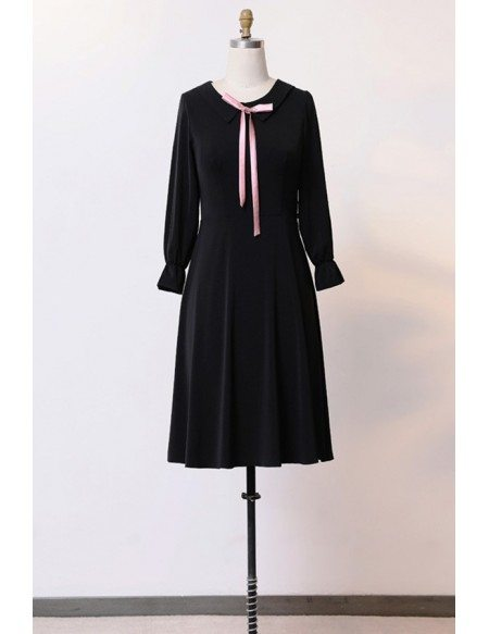 Custom Slim Black Aline Cute Party Dress With Long Sleeves High Quality