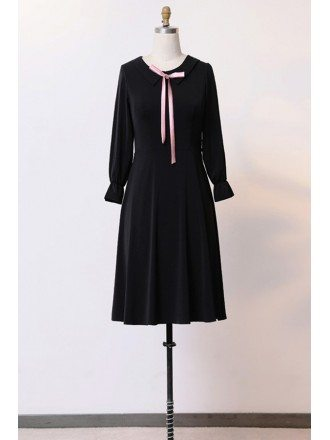 Custom Slim Black Aline Cute Party Dress With Long Sleeves High Quality