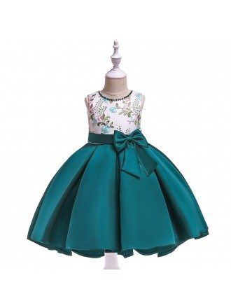 Green Satin Formal Party Dress With Sash For Girls 4-5-6t