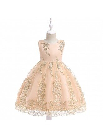 Gold Embroidery Girl Wedding Party Dress Short For 3-8 Years Old