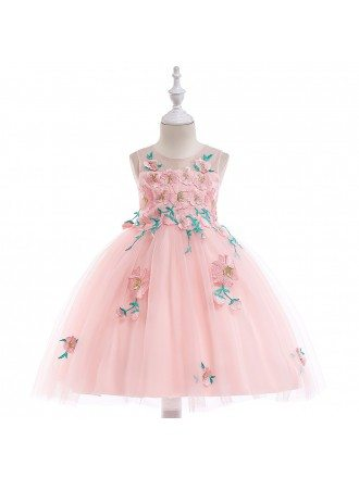 Bright Yellow Tulle Girls Party Dress With Embroidery For Kids 4-12 Years