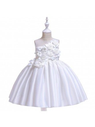 Pink Handmade Flowers Ballgown Wedding Party Dress For Kids 8-12 Years