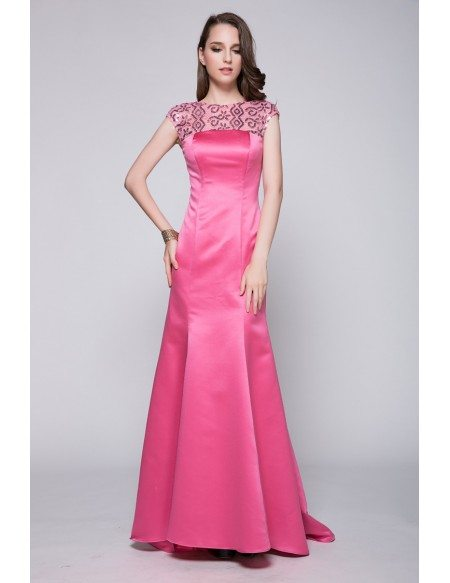 Long Pink Mermaid Sequined Prom Dress With Cap Sleeves