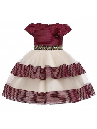 Cute Navy Blue Striped Girl Party Dress With Cap Sleeves For Kids