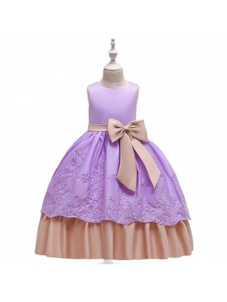 Light Purple Lace Ballgown Girl Prom Dress With Sash For 5-14 Years