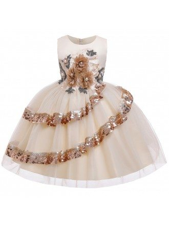 Best Grey Sequined Princess Wedding Party Dress For Girls 3-8 Years