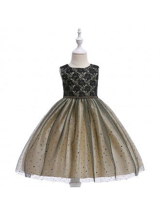 Champagne With Black Tulle Short Party Dress For Girls Formal