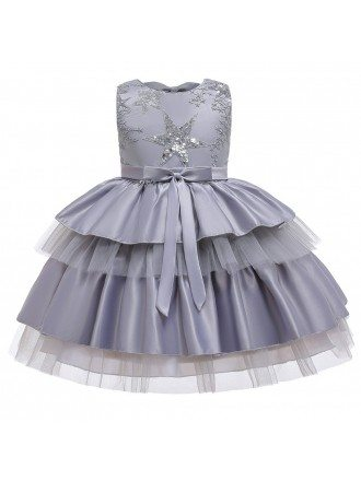 Red Tutu Cupcake Girl Party Dress With Stars For Childres 3-8
