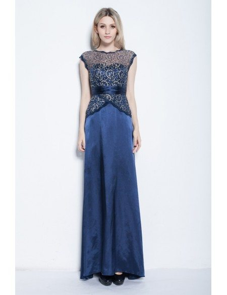 Elegant A-Line Satin Embroidered Evening Dress With Cape Sleeves