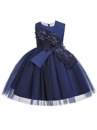 Navy Blue Tulle Ballgown Girl Formal Dress With Appliques For 10-12 Years Kids