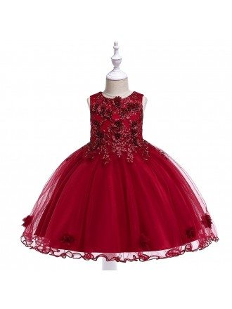 Cute Pink Little Princess Party Dress With Flowers For Children