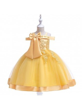 Short Formal Red Girls Party Dress With Big Bow For 3-12 Years