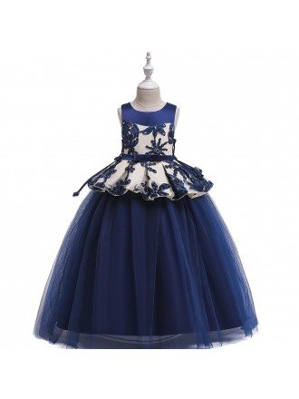 Navy Blue Ballgown Tulle Formal Dress For Girls 7-16 Years Old