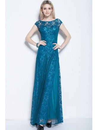 Blue Modest A-Line Tulle Lace Long Dress With Cape Sleeves