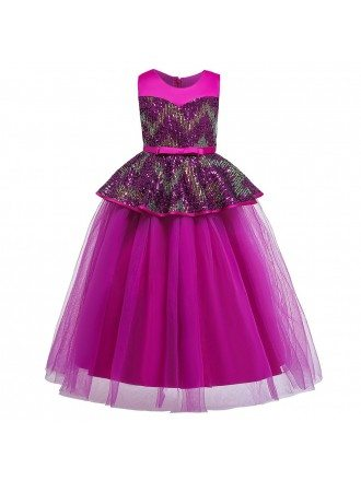Sparkly Sequins Navy Blue Long Formal Girls Dress For Party 6-10-12 Years