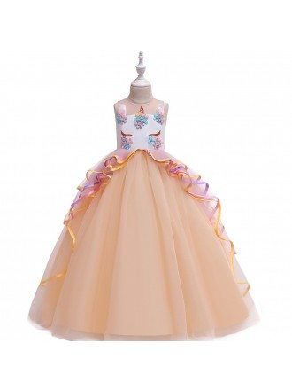 Cute Ballgown Unicorn Pageant Formal Gown For Girls 7-12-16 Years