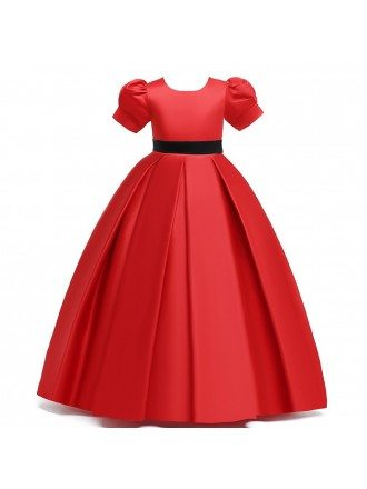 Simple Pleated Red Satin Princess Girl Formal Dress For 7-16 Years