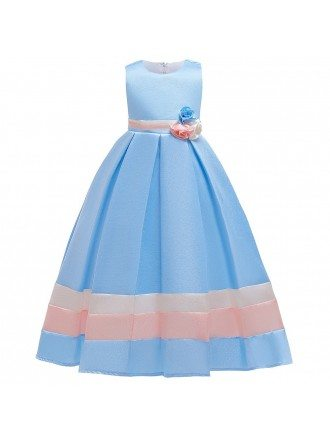 Pretty Pink Striped Formal Girls Party Dress With Big Bow In Back