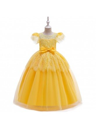 Yellow Princess Lace Ballgown Flower Girl Dress Rustic With Sleeves For 8-14-16 Years