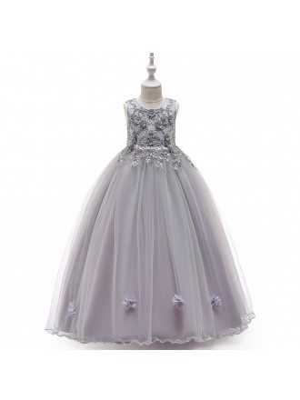 Best Blue Long Tulle Flower Girl Dress With Flowers For 7-16 Years Old