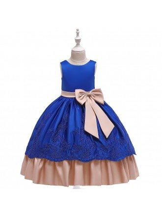 Purple Satin With Big Bow Flower Girl Dress For Formal Size 7-16