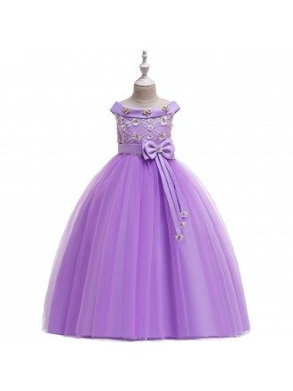Champagne Long Tulle Flower Girl Dress With Sash For Ages 7-16