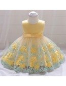 Little Baby Girl Princess Dress Yellow With Sash For 6-9-12 Months